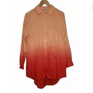 Soft Surroundings 100% Linen Ombre Top Shirt Long Sleeve Button Front Size L NEW